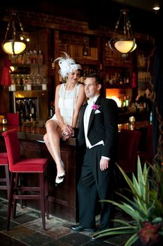 Absolutely fabulous! A bride and groom in #gatsby inspired outfits. Love it!
