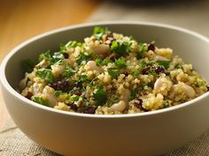 Quinoa with Cranberries and Pecans - This pumped-up side dish, made by adding beans, cranberries and pecans to quinoa, also makes a great main dish.