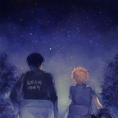 Ayame (Pixiv1250681), Haikyuu!!, Kageyama Tobio, Hinata Shouyou, Night Sky, T-shirt
