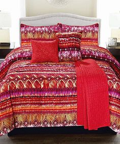 Look what I found on #zulily! Red Morocco Microfiber Comforter Set #zulilyfinds