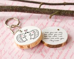 Wood Quote Keychain Hedgehog Animal Wooden Key by HappyCatPrints, $21.50
