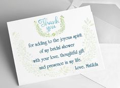 bridal shower thank you cards sample wording tips and etiquette thank you card sample