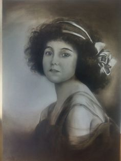 A girl from 20's.. B&W Oil on canvas
