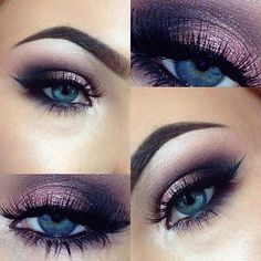 Beautiful purple smokey eye make up - using the Urban Decay Naked 3 Palette - the colours are strange,limit, nooner,buzz,dust and blackout! Eyeliner is Illamasqua & Brows are Anastasia Beverly Hills Dipbrow in dark brown. Purple Eye Makeup, Skin Makeup, Eyeshadow Makeup, Eyeshadow For Blue Eyes, Makeup Looks Blue Eyes, Purple Smokey Eye, Makeup Salon, Makeup Tutorial Blue Eyes, Purple Wedding Makeup