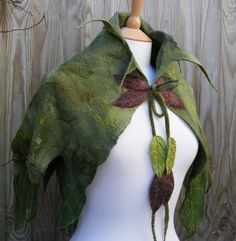 Elven Nuno Felted Green Leaf Cape. $120.00, via Etsy.