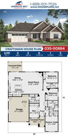 Designed with Craftsman details, Plan 035-00884 has 2,191 sq. ft., 3 bedrooms, 2 bathrooms, a kitchen island, a home office, and a 2 car garage. View more information about this house plan on our website. #craftsmanhomes #craftsmanstyle #craftsmanhouseplans #houseplans #homeplans #buildahome #americasbesthouseplans #newhomes #newhouseplans