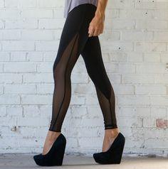 Mesh VPanel High Waisted Leggings Custom Hand Made by CaseyCrespo, $60.00
