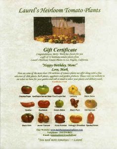 heirloom tomato plants, your Southern California source for more than 160 varieties of heirloom tomato plants shipped right to your door year-round. Order plants now for great-tasting old-fashioned homegrown tomatoes in your garden