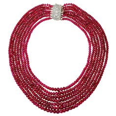 Art Deco Rare Natural Burma Ruby Seven Strand Bead Necklace | From a unique collection of vintage beaded necklaces at https://www.1stdibs.com/jewelry/necklaces/beaded-necklaces/