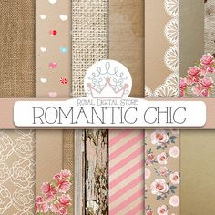 "Shabby digital paper: ""ROMANTIC CHIC"" with shabby chic backgrounds, shabby chic pattern, burlap for party invitations, cards, scrapbooking #romantic #planner #shabbychic #pink #floral #texture #woodtexture"
