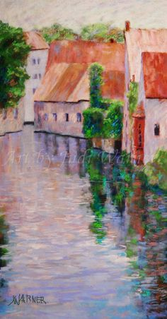 Limited signed print Brugge Belgium Canal Water by ArtByJudiWarner, $40.00