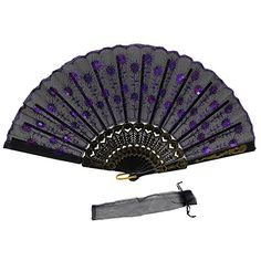 Newstarfactory Peacock Feather Purple Sequins Design Black Plastic Folding Hand Fan with Special Gift * Read more reviews of the product by visiting the link on the image.