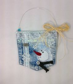 Recycled jeans pocket gift bag  snowman gift pocket by BitsOfFiber, $10.00