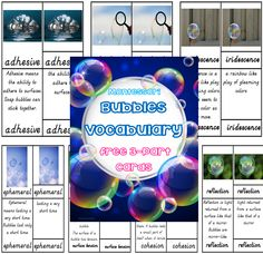 Free Bubbles Montessori 3 Part Cards with Definitions--printable 3 part cards for bubbles vocabulary, elementary level Bubbles 3, Montessori Trays, Outdoor Classroom, Wise Owl, Classroom Activities, Teacher Resources, Definitions, Homeschooling, About Me Blog