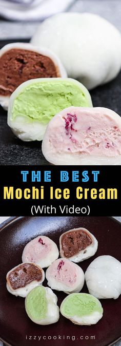Mochi Ice Cream – sweet and creamy ice cream wrapped in smooth and pillowy mochi dough! It will float into your mouth and disappear! This easy Japanese dessert recipe makes a batch of the most delicious and dainty ice cream mochi balls with different flavors. Try strawberry, green tea matcha, or chocolate! #MochiIceCream #Mochi