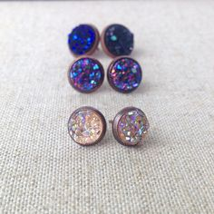 "Druzy Stud Earring Set - ""Vespera"" - Translucent Peach, Sunset Purple, Midnight Purple on Antique Copper Settings - Varied Sizes - Gift Set"