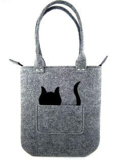 Cat handbag Felt purse Bag for women Gray bag Felt by Torebeczkowo