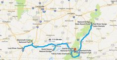 The natural wonders road trip map for Kentucky.