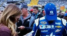 Dale Earnhardt Jr and Amy Reimann at Dover International Speedway 2015.