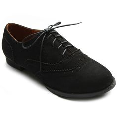 3b15e295996 Ollio Womens Shoe Ballet Flat Faux Suede Wingtip Lace Up Oxford BM US Black    More info could be found at the image url. (This is an affiliate link)