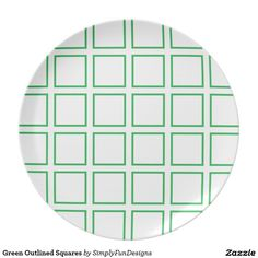Green Outlined Squares Plate