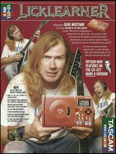 Megadeth Dave Mustaine for Tascam MK II guitar trainer 8 x 11 ad print Dave Mustaine Guitar, Marty Friedman, David Ellefson, Guitar Magazine, Pin Up Photos, New Trainers, Glam Metal, Old Music, Rockn Roll