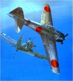 """Mitsubishi A6M2b Zero del As de la marina japonesa teniente primero Iyozoh Fujita del portaviones """"Soryu"""", derriba a un TBD-1 Devastador, Batalla de Midway 04 de junio 1942. Lionel Labeyrie"""