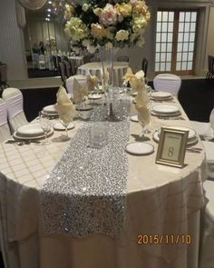 Trendy Ideas For Wedding Reception Decorations Bling Table Runners Bling Party Decor, Bling Wedding Decorations, Purple Wedding Centerpieces, Table Decorations, Sparkle Decorations, Ceremony Decorations, Event Decor, Wedding Table Linens, Wedding Tables