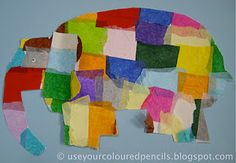 elmer elephant with tissue paper