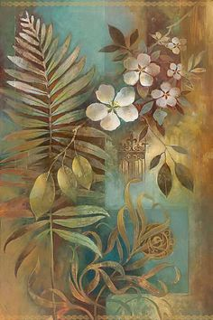 Forest Fern I by Elaine Vollherbst-Lane Art Floral, Inspiration Artistique, Decoupage Vintage, Gold Paint, Silk Painting, Pictures To Paint, Painting Techniques, Watercolor Flowers, Flower Art
