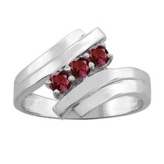 10K White Gold Round 3-stone Mothers Ring (Size 9,Alexandrite), Women's, Pink