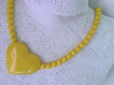 1980's Les Nereides Big Yellow Heart plastic Necklace. Excellent condition by VINTAGEwithaSMILE on Etsy