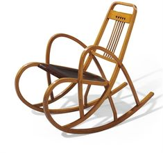 THONET A Beech and Stained Plywood Rocking Chair, circa 1890 model