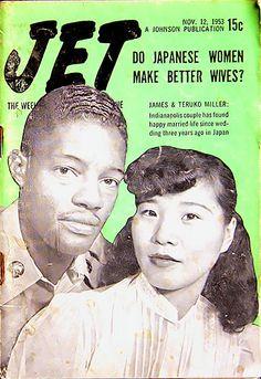 Do Japanese Women Make Better Wives? - Jet Magazine, November 1953 by… Jet Magazine, Black Magazine, Magazine Stand, Afro, Ebony Magazine Cover, Magazine Covers, Pin Up, Vintage Black Glamour, Interracial Love