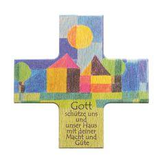 Haussegen Gott schütze.. Buchenholz 12 cm 001