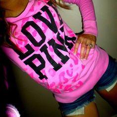 RARE vs pink leopard crew hoodie Perfect condition size small Victoria's Secret Sweaters Crew & Scoop Necks