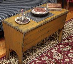 Primitive Dough Box w/legs Authetic reproduction from an antique. $320.00 35″long, 16″ deep, 23″ high.