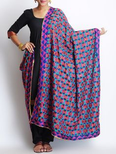 Buy Multi-Color Crepe Phulkari Dupatta Online at Jaypore.com