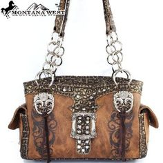 Amazon.com: Montana West Western Cowgirl Western Rhinestone Gemstone Studded Buckle Embellishment Floral Print and Fringe Handbag Purse Tote Satchel with Chain Strap in Brown: Clothing $42.99