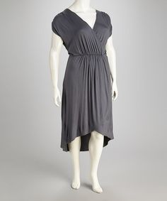 Take a look at this Gunmetal Plus-Size Surplice Hi-Low Dress by Loveappella on #zulily today! $42.99, regular 110.00