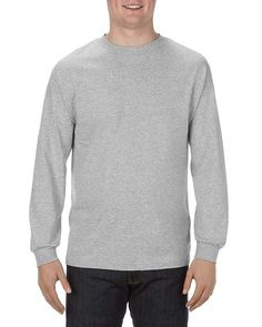 Athletic Heather (90% Cotton + 10% Polyester) - 1304 Alstyle Classic Adult Long Sleeve Tee | T-shirt.ca