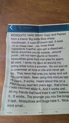 Mosquito yard spray - homemade from 3 ingredients cheap blue mouthwash, Epson salt, & stale cheep beer ......omg lol lets see if this works !