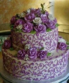 Two Tiered Purple & White Cake