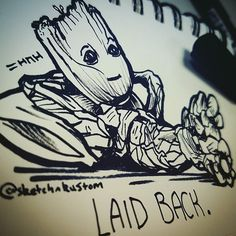 Saw the original pic popup on my timeline - let me know if it was your pic and I'll tag you! Here's my version #gotg #vindiesel #groot #laidback #babygroot #gotgvol2 #ginandjuice #snoopdogg #guardiansofthegalaxy #iamgroot #marvel #comics #cute #sleep #cool #funny #ink #graffiti #art #artist #sketchdaily #instaart #instadaily #pillow #sketchysketch