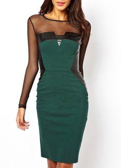 Gorgeous Mesh Splicing Round Neck Long Sleeve Dress