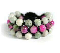 Pink green marble stone bracelet macrame braided by BakGuri