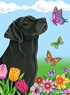 Black Labrador - Best of Breed Butterfly Garden Flag