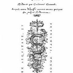 ROBERT GRANJON: title page for Le premier livre des narrations fabuleuses (The First Book of Fabulous Stories), 1558. The script letterforms are Granjon's caractères de civilité, which were used for the entire text of this 127-page book. The serpent device, elegantly bracketed by the motto in roman capitals, is Granjon's trademark. (Meggs)
