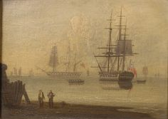 A frigate at anchor thought to be off Sandy Hook - National Maritime Museum