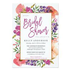 4e4b069b4076 MODERN WATERCOLOR FLORAL bridal shower invitation